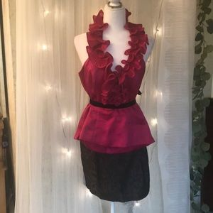 White House Black Market Fushia top w/free skirt